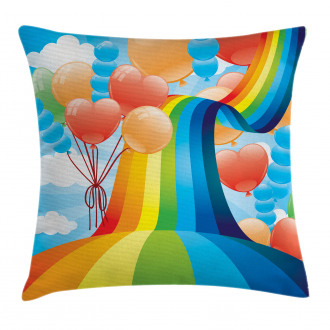 Rainbow Romantic Hearts Pillow Cover