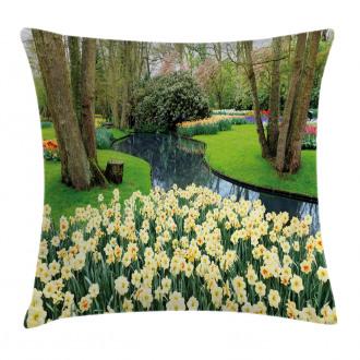 Flower Garden Grass Park Pillow Cover