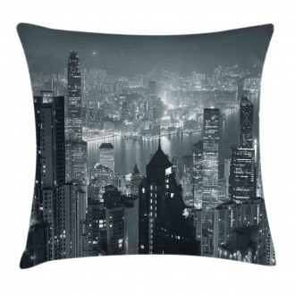 Aerial Night Landscape Pillow Cover