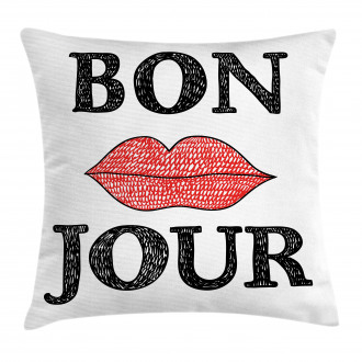 Vintage Bon Jour Quote Pillow Cover
