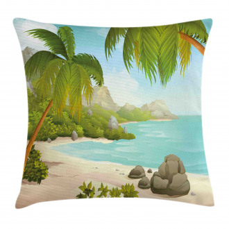 Palm Trees and Rocks Pillow Cover