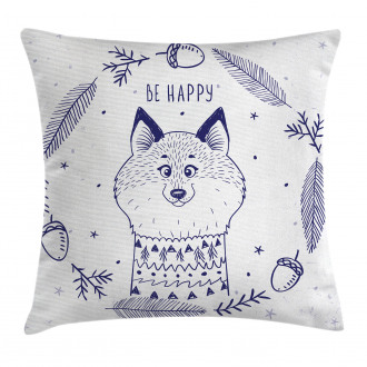 Fox with Hearts and Beam Pillow Cover