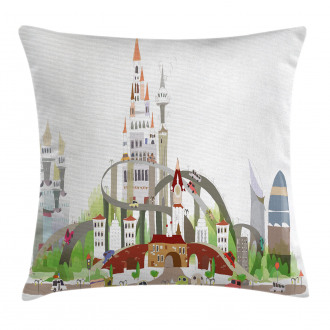 Mega City Urban Scenery Pillow Cover