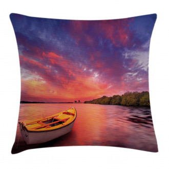 Sea Coast with a Rowboat Pillow Cover