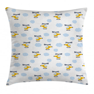 Cute Aircraft in Clouds Pillow Cover
