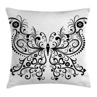 Swirled Wing with Flower Pillow Cover