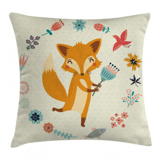 Cute Animal with Floral Pillow Cover