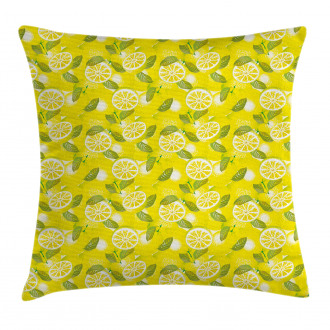Fresh Lemons with Leaves Pillow Cover