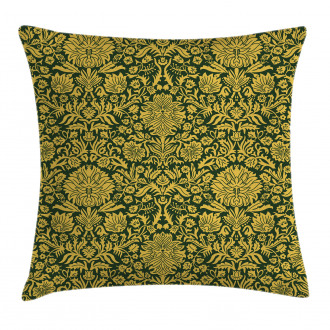 Baroque Flowers Motif Pillow Cover