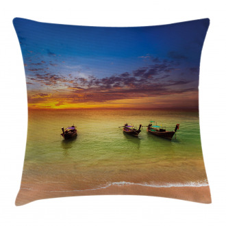 Thailand Boat in Ocean Pillow Cover
