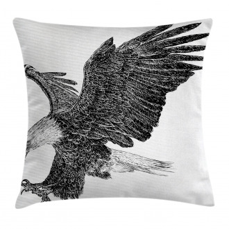 Bald Eagle Swoop Sketchy Pillow Cover