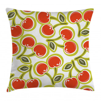 Cherry and Leaves Pattern Pillow Cover