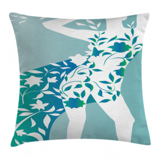 Girl Flower Petal Leaves Pillow Cover
