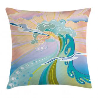 Cartoon like Waves Pillow Cover