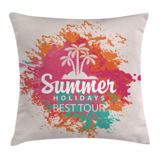 Lettering and Palms Pillow Cover