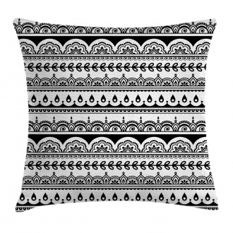 Ethnic Borders with Leaf Pillow Cover