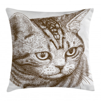 Portrait of a Kitty Hipster Pillow Cover