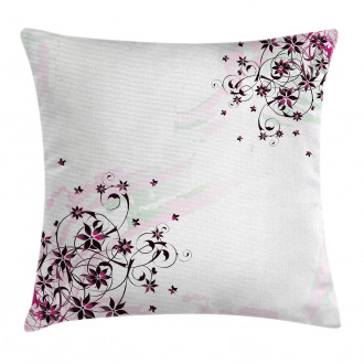 Grunge Flower Motif Leaf Pillow Cover