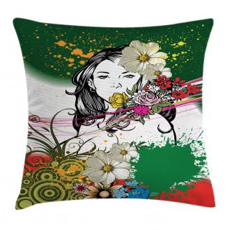 Tropical Flowers Spirals Pillow Cover