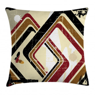 Retro Trippy Form Ruby Pillow Cover