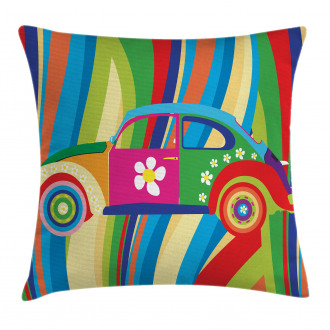 Hippie Style Classic Car Pillow Cover