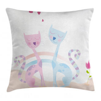 Cat Love Tulip Hearts Pillow Cover