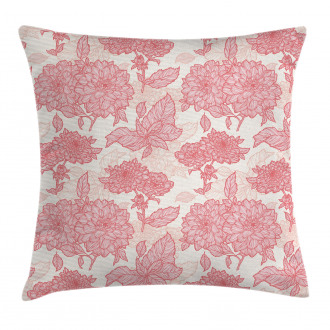 Pink Flowers and Leaves Pillow Cover