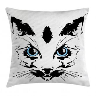 Big Cat Face Pet Sketchy Pillow Cover