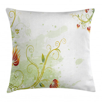 Retro Grunge Swirl Petal Pillow Cover