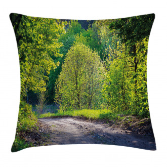 Path in Forest by Lake Pillow Cover