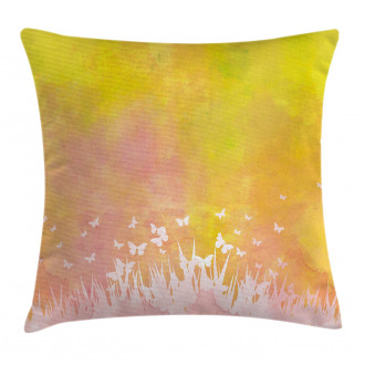 Flower Butterfly Colored Pillow Cover