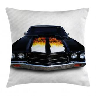 Vintage Retro Car Flame Pillow Cover