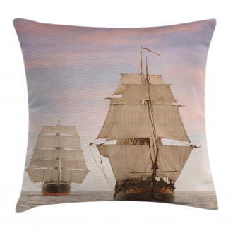 Wooden Sailing Ship Waves Pillow Cover