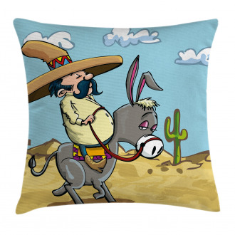 Mexican Man on a Donkey Pillow Cover