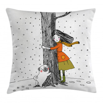 Girl with Pug Pillow Cover
