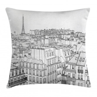 Roofs in Paris and Eiffel Pillow Cover