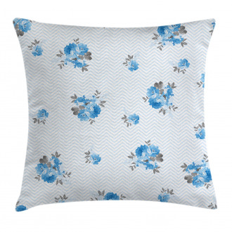 Blue Color Romantic Flower Pillow Cover
