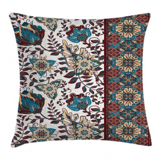 Ornate Floral Border Pillow Cover