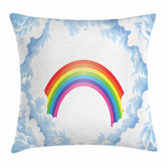 Rainbow Fluffy Clouds Pillow Cover