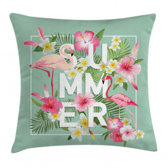Tropical Retro Flowers Pillow Cover