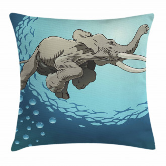 Elephant in Tropic Ocean Pillow Cover