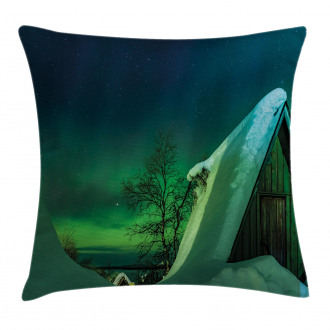 Wooden House Winter Pillow Cover
