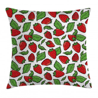 Juicy Strawberries Leaves Pillow Cover