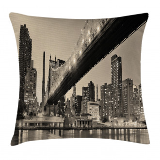 NYC Night Bridge View Pillow Cover