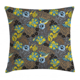 Flowers Circled Detail Pillow Cover