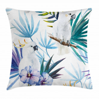 Watercolor Parrot Palm Pillow Cover