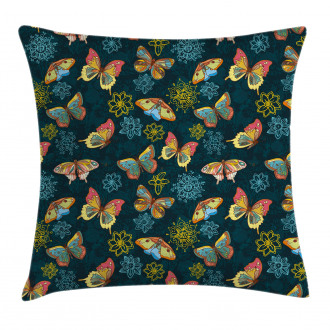 Butterflies and Flowers Pillow Cover