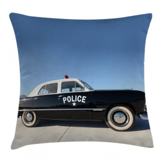 Old Police Car Digital Pillow Cover
