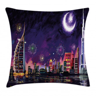 Night Dubai Skyscraper Pillow Cover