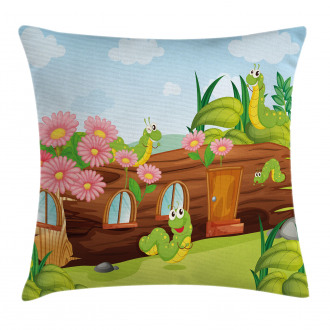 Worms in Wooden Tree Pillow Cover